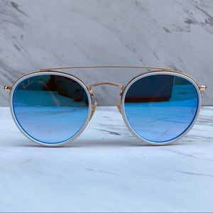 😎 Ray-Ban Round Double Bridge Gold Blue Flash
